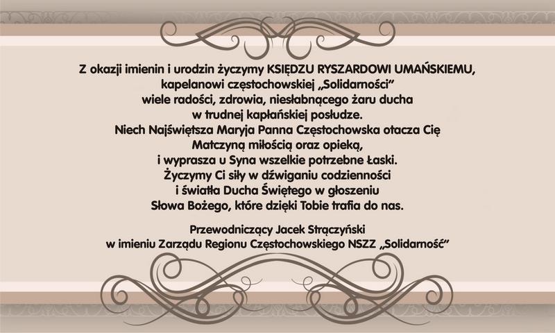 Region Częstochowski Nszz Solidarność życzenia Dla